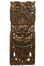 "Buddha with Elephants Wood Carved Wall Decor Panel. Wall Art  Brown 35.5""x13.5"""