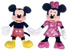 "NEW 12"" SET OF 2 GLITTER MICKEY MOUSE MINNIE MOUSE PLUSH SOFT TOYS"