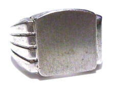CLARK & COOMBS VINTAGE STERLING SILVER SIGNET SHIELD CREST INITIAL RING SZ 11.75