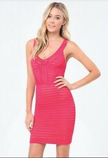 BEBE PINK MAEVE MESH STRIPE SWEATER MIDI DRESS NEW NWT $119 XSMALL XS