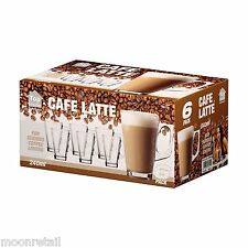 6x 240ml Cafe Latte Glasses Coffee Espresso Mocha Hot Drinks Tall Clear Mugs Cup