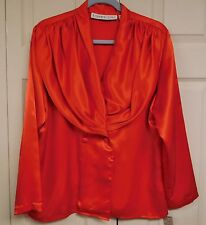 JOSEPHINE CHAUS Red Silky Blouse...Size 14....NWT...Stunning Draped Collar