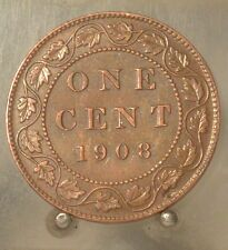 1908 Canada Bronze 1 Cent, Old Bronze 1C World Coin