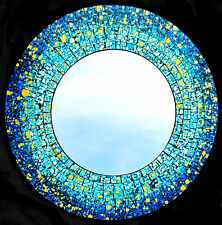 "Mosaic Glass wall mount Mirror ""Blue Splash"" home decor (933)"