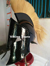 King Leonidas 300 Armor Helmet with  Plume~ Medieval helmet W/ Black Finish