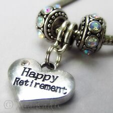 Happy Retirement European Heart Charm And Birthstones For Charm Bracelets