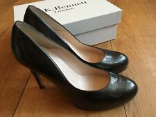 LK Bennett Metallic Grey Patent Sledge Womens Shoes Size 8 41