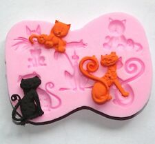 FD2213 Cute Cat DIY Silicone Sugarcraft Fondant Mold Cake Chocolate Bake Mould