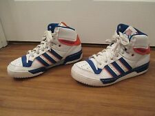 Used Worn Size 11 Adidas Attitude Hi Shoes White Blue Orange Knicks