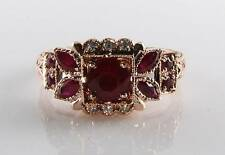 LARGE 9CT 9K ROSE GOLD RUBY DIAMOND ART DECO  INS RING FREE RESIZE