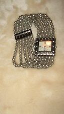 Vintage Quartz Square Watch Japan movt elastic silver beaded band