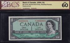 1Bank of Canada $1, 1954 - Replacement Note - BC-37bA, BCS Uncirculated