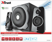 NEW TRUST 19020 2.1 TYTAN 120W PMPO 60W RMS SPEAKER SET FOR PC COMPUTER ETC