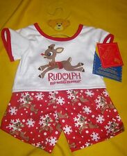 New BUILD-A-BEAR RUDOLPH THE RED NOSED REINDEER PAJAMAS PJ's Outfit