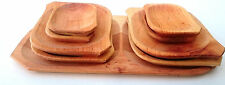 Wooden plate set ,9 piece large Barbecue set,untreated natural tray set