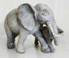 NEW Vintage Grey Elephant Figurine Gift Ornament Statue Mother + Calf Sculpture