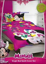 SINGLE BED DISNEY MINNIE MOUSE PINK GIRLS QUILT DOONA COVER SET & PILLOWCASE