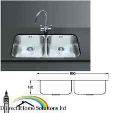 Smeg Alba double bowl undermount sink, unhanded