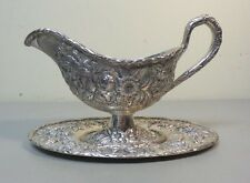 """VINTAGE KIRK """"REPOUSSE"""" STERLING SILVER SAUCE / GRAVY BOAT & TRAY, 500 grams"""