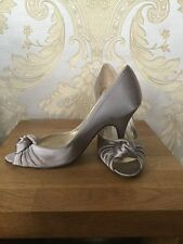 Lk Bennett Taupe Satin Peep Toed Shoes Size:3 Euro:36