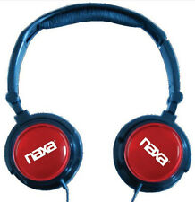 Naxa Red Foldable Headphones & Earbuds & Extra Caps & Case New Free US Shipping