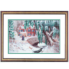 Complete Counted Cross Stitch Kit 14ct Victorian Christmas Snow Scene NEW