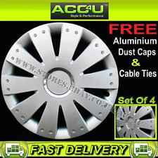 "15"" Audi VW Style Silver Car Wheel Trims Hub Cap Covers Set of 4+Ties+Valve Caps"