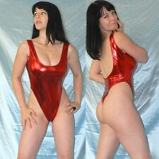 hohe Beine LACKBODY shiny metallic glänzend* S  roter Stringbody* Gymnastikanzug