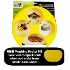 Meal Measure Portion Control Plate (Yellow) and Matching 4 Compartment Pill Box