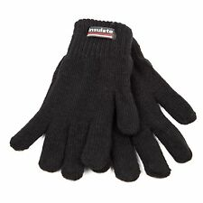 Unisex Thermal Insulation Black Color Knit Winter Warm Gloves For Men Women