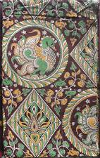 Cotton kalamkari block print fabric - 100 cms length by 43 inches Peacock green