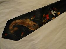 MICKY MOUSE FISHING TIE 100% SILK HANDMADE VERY COLOURFUL -