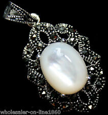 Natural White Mother of Pearl Shell Marcasite 925 Sterling Silver Drop Pendant
