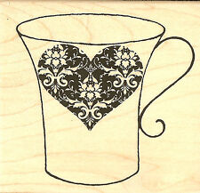 TEACUP Valentine Demask Heart Wood Mounted Rubber Stamp Impression Obsession NEW