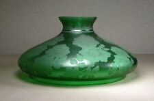 ANTIQUE LARGE VICTORIAN ACID ETCHED FLORAL GREEN GLASS LAMP SHADE SALE!!
