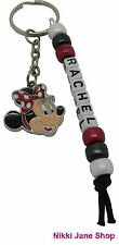 Handmade Personalised Name Minnie Mouse Themed Keyring School Bag Tag Charm