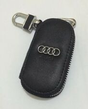 Audi Leather Key Cover Case Holder Ring Chain Fob !