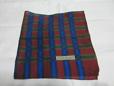 "USE Y S L MAROON WITH GREEN PLAIDS PATTERN COTTON 18""HANDKERCHIEF FOR MEN"