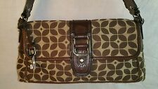 FOSSIL BROWN TAN FOSSIL PRINTED LEATHER TRIMMED SHOULDER BAG PURSE
