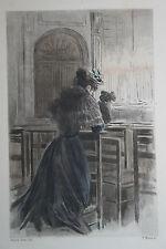 Eau-forte aquarelle pochoir La Femme à Paris Pierre Vidal Fred. Massé Uzanne 7