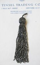 1 Vintage/Antique Art Deco Victorian Dk Silver Glass Beaded Tassel Fringe 4 1/2""