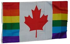 GAY PRIDE RAINBOW CANADA HYBRID FLAG FLAG 3 X 5 FEET POLYESTER NEW LGBT