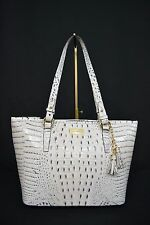 NWT! Brahmin Medium Asher Leather Tote in Marble Melbourne.White with Black/Blue