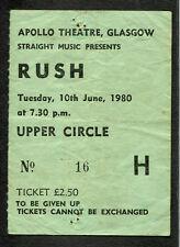 1980 Rush Concert Ticket Stub Apollo Glasgow Permanent Waves Tour Freewill