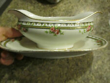 Limgoes France Gravy Boat with Attached Under Plate Underplate Floral WIN