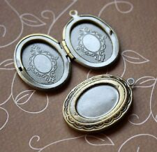 Antique bronze brass locket pendant with base – 2 pcs