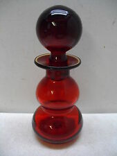 RAINBOW RED GLASS DECANTER W/ BALL STOPPER