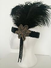 Black & Gold Ostrich Feather Headband 1920s Flapper Headpiece Great Gatsby 1930s