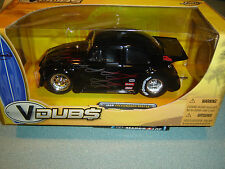 Rare VHTF Black W/Ghost Flames JADA V-Dubs '59 VW Beetle Dragster 1/24 W/Box