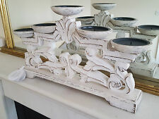 New XL 41CM Wide Shabby Chic Wooden 5 Candle Holder White Washed Wood Effect